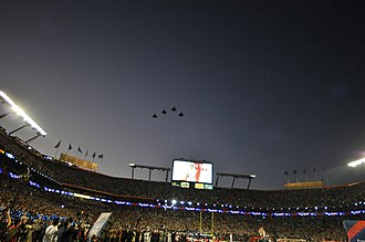 Super Bowl XLIV - Aircraft of the 125th Fighter Wing perform a flyover during the singing of the National Anthem.