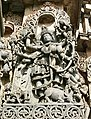 12th-century Durga Mahishasuramardini killing buffalo demon at Shaivism Hindu temple Hoysaleswara arts Halebidu Karnataka India 2.jpg