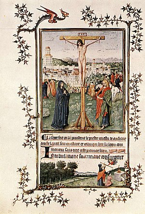 Crucifixion and Last Judgement diptych - Leaf from the Turin-Milan Hours, unknown artist, c. 1440–1450. This illustration is often attributed to Jan van Eyck or a member of his workshop.