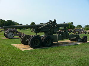 155 mm Long Tom - Long Tom in travelling position, US Army Ordnance Museum.