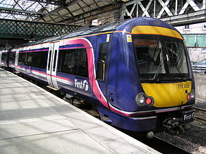 Glossary of United Kingdom railway terms - A First ScotRail Class 170 DMU in Barbie livery