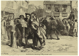 English: Bostonians reading Stamp Act, 1765.