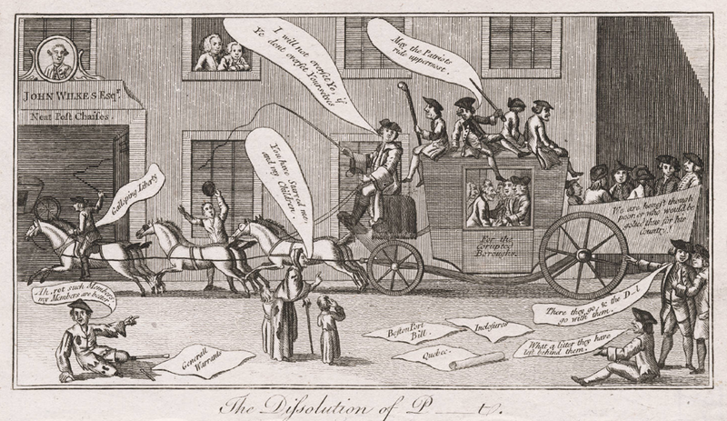 """Dissolution of Parliment"": September 30, 1774 British Cartoon Condemning Parliament's handling of the Colonies"