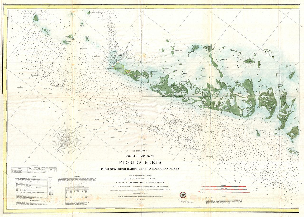 image relating to Printable Map of Key West identified as History:1859 U.S. Coastline Study Map or Nautical Chart of the