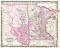 1862 Johnson Map of Minnesota and Dakota - Geographicus - MNDK-johnson-1862.jpg