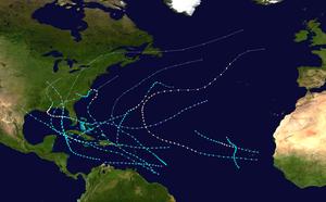 1901 Atlantic hurricane season - Image: 1901 Atlantic hurricane season summary map