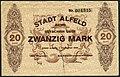 1918-12-01 Stadt Alfeld (Leine) Gutschein über 20 Mark Unterschrift Der Magistrat Das Bürgervorsteherkollegium.jpg