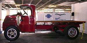 Chain drive - Mack AC delivery truck at the Petersen Automotive Museum with chain drive visible