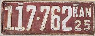 Vehicle registration plates of Kansas - Image: 1925 Kansas License Plate 117762