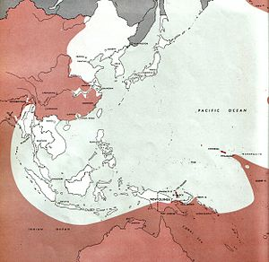 Map of the western Pacific Ocean and South East Asia marked with the territory controlled by the Allies and Japanese as at March 1944