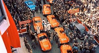 1955 Mille Miglia Motor race held on public roads around Italy in 1955