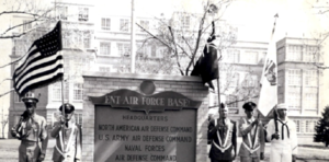 Continental Air Defense Command - Until 1963, CONAD HQ was located in the 4-story former National Methodist Sanitorium building (background, behind sign)