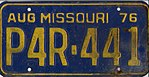 1976 Missouri license plate P4R-441.jpg