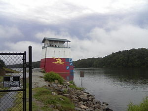 Venues of the 1996 Summer Olympics - Finish tower at Lake Lanier (2010), site of canoe sprint and rowing competitions in the 1996 Summer Olympics.