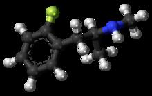 Pilk-kaj-bastona modelo de la 2-fluorometamfetamina molekulo