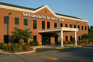 Health facility - An eye, ear, nose, and throat clinic in Durham, North Carolina, illustrating a common smaller facility.