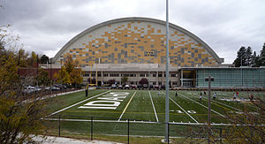 Kibbie Dome - The east side of the Kibbie Dome features the East End Addition (center), the Vandal Athletic Center (right), and SprinTurf practice fields. (2008)