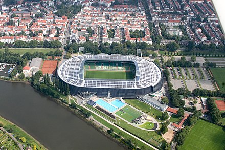 Weser-Stadion is the home ground of Werder Bremen 2012-08-08-fotoflug-bremen zweiter flug 0434.JPG