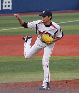 20120503 Ryo Hirai, pitcher of the Tokyo Yakult Swallows, at Yokohama Stadium.JPG