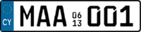 2013 Cyprus sample licence plate.png