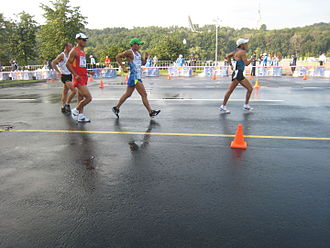 Quentin Rew - Rew, Si, Hernandez and Chocho at 50 km walk race in Moscow World Champs