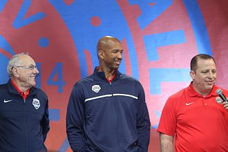 2014 United States FIBA Basketball World Cup team - left to right: Jim Boeheim, Monty Williams, and Tom Thibodeau served as assistant coaches