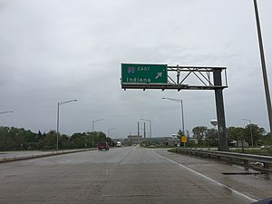 Illinois Route 7 - View south along Illinois 7 at Interstate 80
