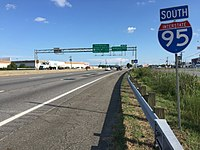 2017-07-07 17 55 26 View south along Interstate 95 (Richmond-Petersburg Turnpike) between Exit 54 (Virginia State Route 144-Temple Avenue) and Exit 53 (Southpark Boulevard) in Colonial Heights, Virginia.jpg