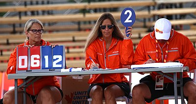 Officials keep score during a beach volleyball match at the 2017 Canada Summer Games 2017-08-04-Paul Reimer-Beach Volleyball Medals-022 (35589437453).jpg