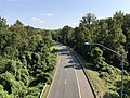 2019-09-11 15 43 50 View southeast along the southeastbound lanes of the Cabin John Parkway (Interstate 495X) from the overpass for Interstate 495 (Capital Beltway) on the edge of Cabin John and Bethesda in Montgomery County, Maryland.jpg