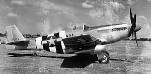 123d Airlift Wing - North American P-51D-5-NA Mustang Serial 44-13404 (CV-Z) of the 368th Fighter Squadron painted in D-Day Invasion markings, June 1944. The pilot of this aircraft, Lt. Louis E. Barnett was killed on 12 September 1944.