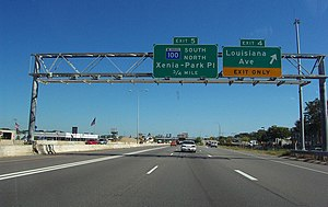 Interstate 394 - Interstate 394 heading eastbound toward downtown Minneapolis.  Notice the MnPass toll lane to the left