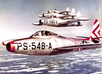 49th Fighter Training Squadron - F-84B Thunderjets of the 49th Fighter Squadron in formation over Maine, 1948