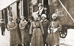 5th Rifle Division (Poland) - Soldiers of 5th Polish Rifle Division in transport through Siberia, winter 1919/1920