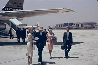 Los Angeles International Airport - Continental passengers arriving at CAL terminal, July 1962, before jet-ways were constructed.