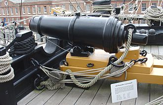 Carronade - 68-pounder British naval carronade, with slider carriage, on HMS Victory