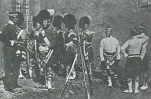 93rd (Sutherland Highlanders) Regiment of Foot - An early photo, taken at Scutari, of officers and men of the 93rd Highland Regiment, shortly before their engagement in the Crimean War, 1854.