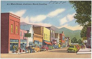 Andrews, North Carolina - Postcard of main street in Andrews, 1950's.