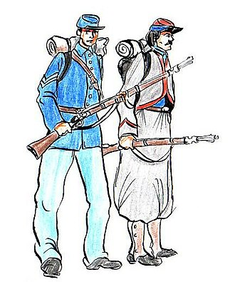 11th Indiana Infantry Regiment - A drawing of Union army corporal and 11th Indiana Zouave