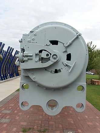 "14""/45 caliber gun - The breech of the restored USS Arizona gun barrel in Phoenix, Arizona."