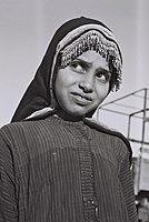 A JEWISH YEMENITE GIRL, DRESSED IN HER NATIVE DRESS, HASHED CAMP NEAR ADEN, YEMEN.D859-010.jpg