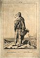 A sailor with a pipe in his mouth is carrying a basket with Wellcome V0039684.jpg