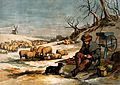 A shepherd sits outside on a cold winter's day sharing his m Wellcome V0039591.jpg