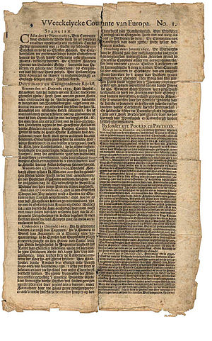 Haarlems Dagblad - Front page of Abraham Casteleyn's Weeckelycke Courante van Europa