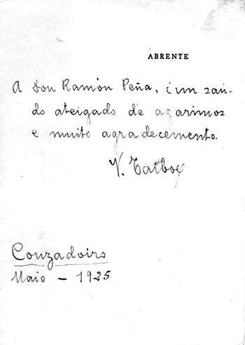 Dedicatoria manuscrita a Ramón Peña, director de Céltiga, nun exemplar de Abrente. Couzadoiro, 1925.
