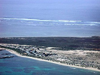 Houtman Abrolhos - Aerial photograph of the southern half of North Island, looking westwards and showing the seasonal fishing camp