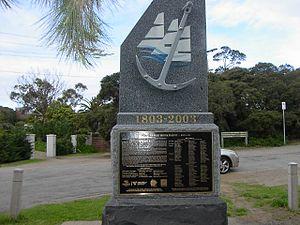 Gedenkstein zur Erinnerung an die ersten europäischen Siedler in Port Phillip im Jahre 1803