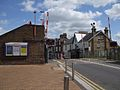 Addlestone station level crossing look north.JPG