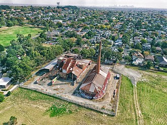 City of Box Hill - Aerial perspective of the former Standard Brickworks at Federation Street Box Hill