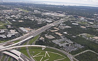 Florida State Road 60 - SR60 between the Florida State Road 616/Tampa International Airport interchange (bottom left) and Interstate 275 (upper right